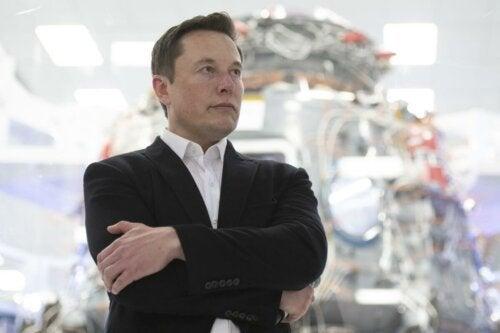 Elon Musk standing tall.