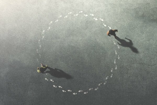 Two people going in circles.
