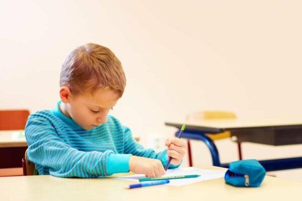 A boy drawing.