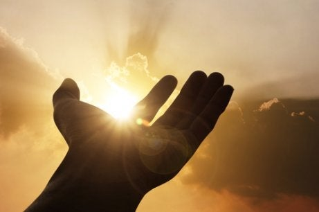 A hand with the sun shining through.