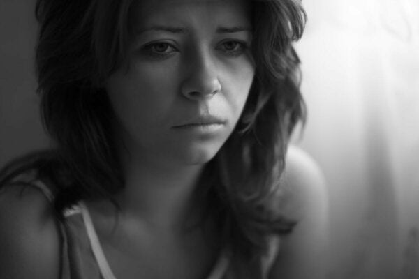 A distressed woman.