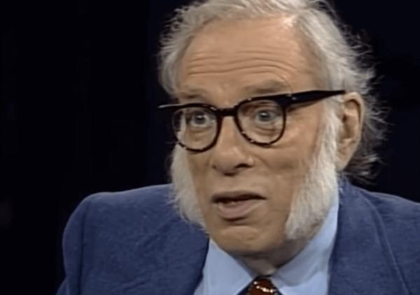 Isaac Asimov talking to someone.