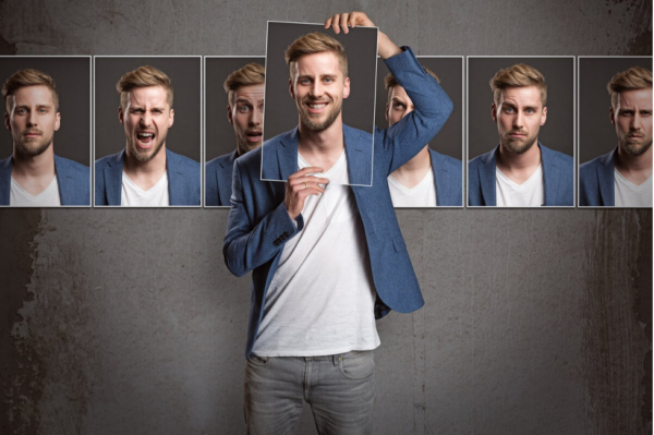 A man showing images of himself with different expressions, showing what personality is.