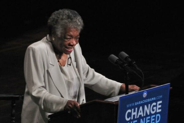 Maya Angelou giving a lecture.