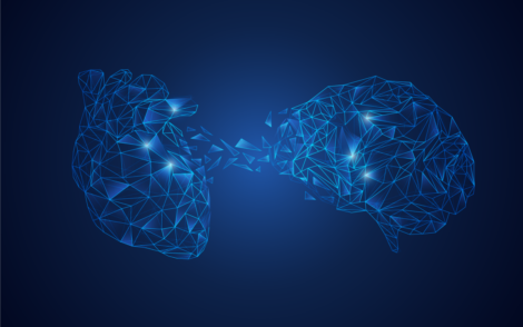 A brain and a heart joining together.
