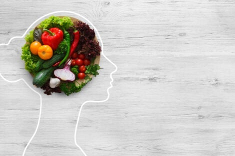 A mind made of food representing psychonutrition.