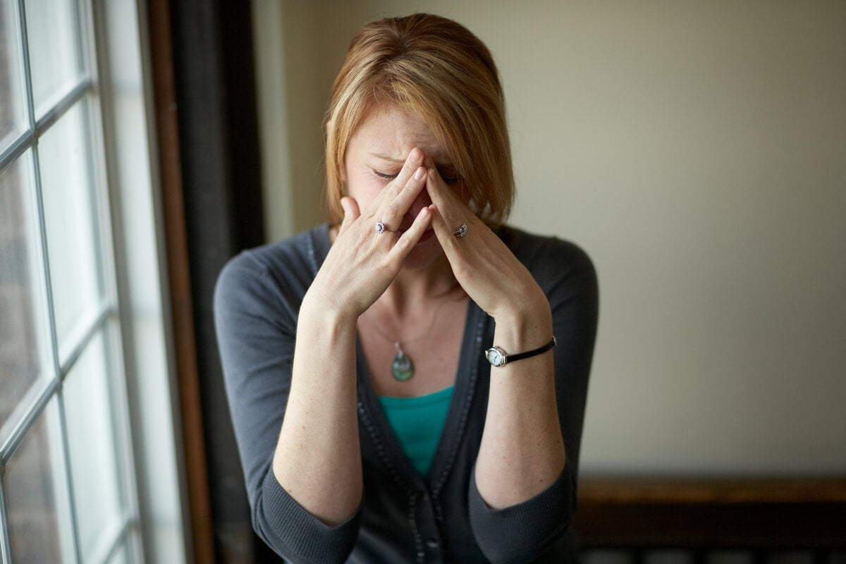 An anxious woman.