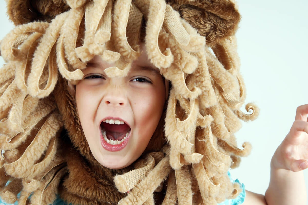 A child dressed up as a lion.
