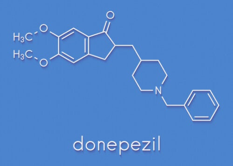 The molecular structure of the drug donepezil.