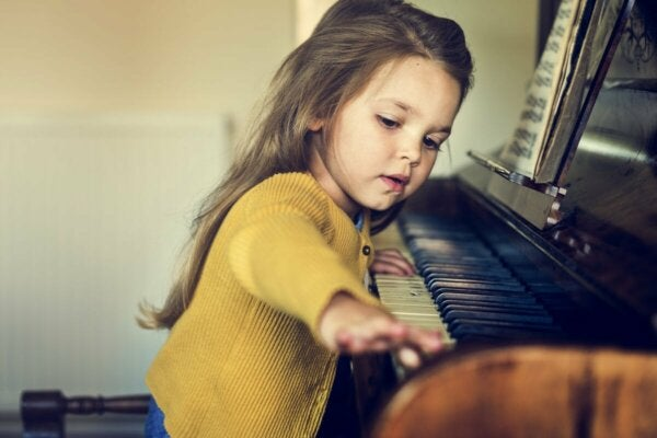 A girl playing the piano.