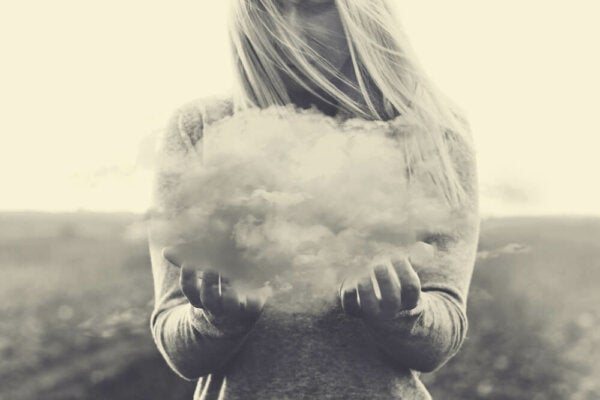 A woman with a cloud.