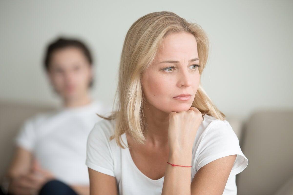 A woman thinking.