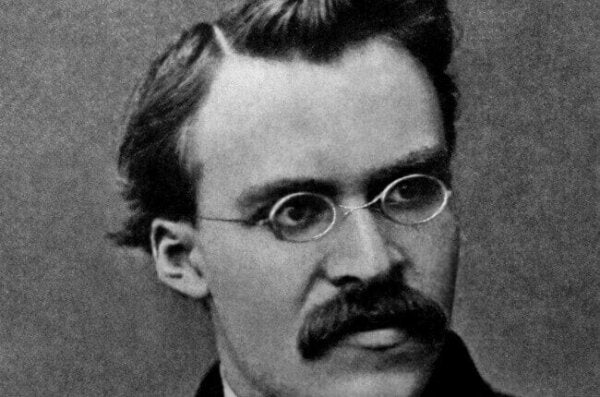 A black and white picture of Friedrich Nietzsche.