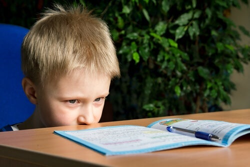 A child looking at a book.
