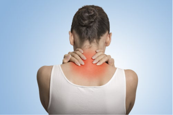 Back view of woman, showing area affected by severe fibromyalgia.
