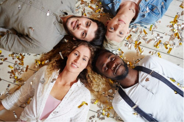 Four people lying down.