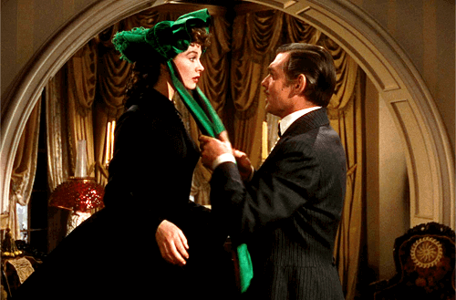 Vivien Leigh and Clark Gable in a movie scene.
