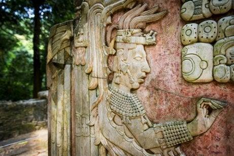 A stone carving at Maya ruins.