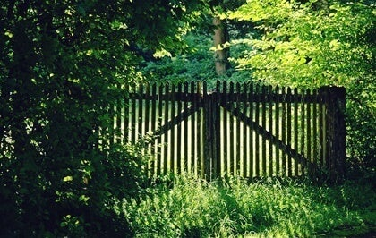A wooden fence in the country.