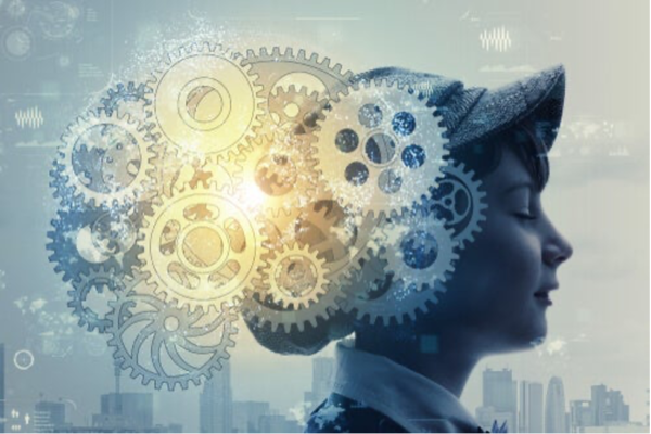 A head with cogs showing the working of the mind.