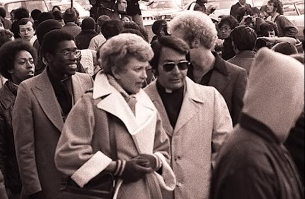 Jim Jones in a crowd of people.