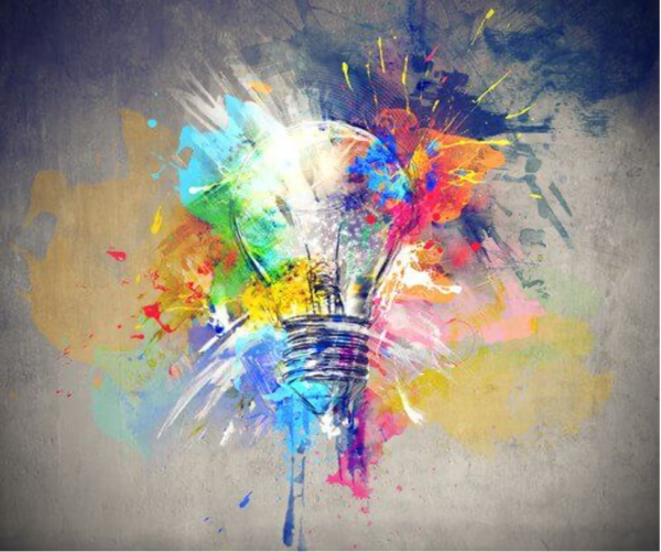 A painting of a light bulb.