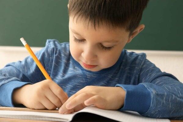 A boy writing.