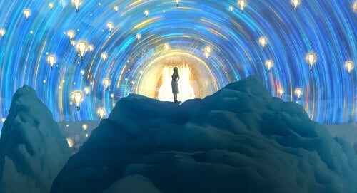 A woman in a tunnel.