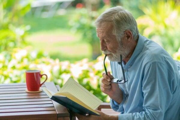 A man reading.