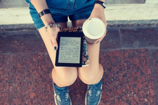 Someone with an electronic reader.