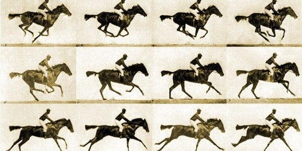 Frames of horses running.