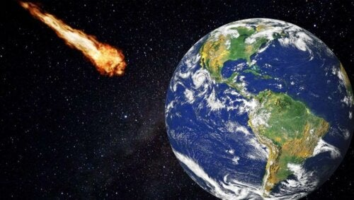 A meteorite headed to hit the Earth.