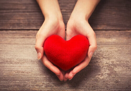 A red heart in someone's hands.
