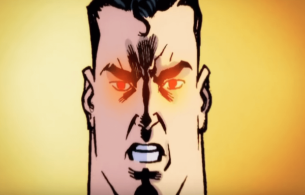 Superman with red eyes.