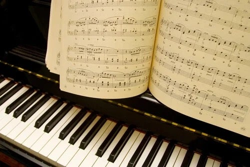 A piano and a sheet of music.