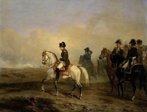Napoleon on horseback.
