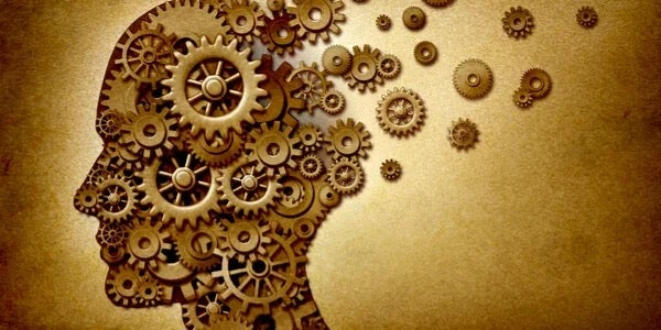 The brain shown as cogs and wheels.