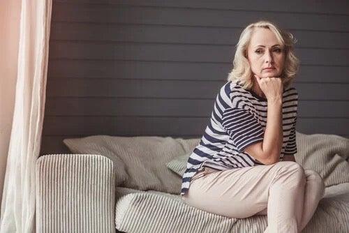 A woman looking worried.