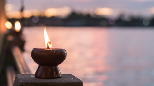 A candle by the sea.