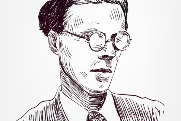 A line drawing of Aldous Huxley.