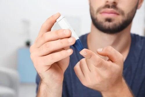 A man testing his blood.