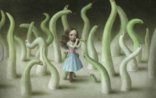 A girl surrounded by worms.