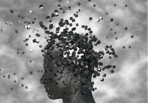 A head disintegrating.