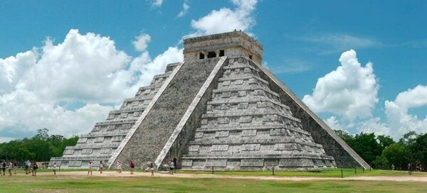 A pyramid in Mexico.