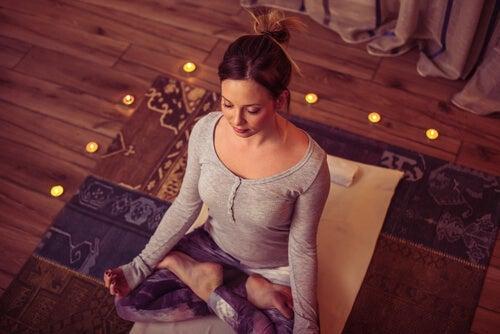 A woman meditating, idea of David Coleman.