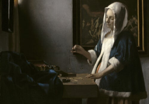 A painting of a woman in a living room thinking to herself.