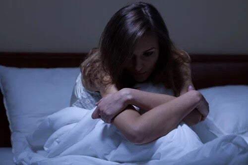 A woman suffering from insomnia.