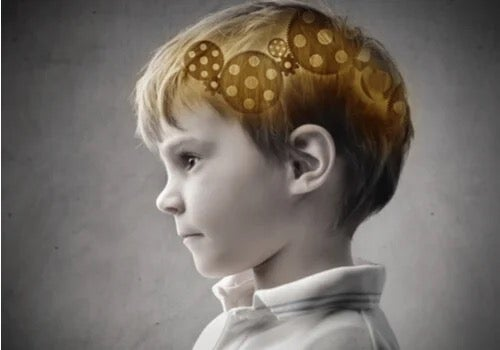 A child with cogs in his brain.