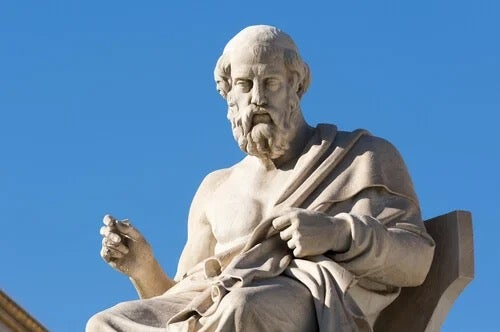 A statue of one of the Greek philosophers.