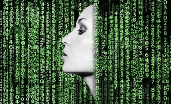 A woman's profile among a lot of data.